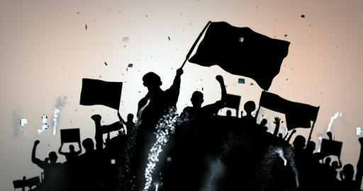 Silhouette crowd waving flags and banners and celebrating with confetti and fireworks. Seamless loop Animation