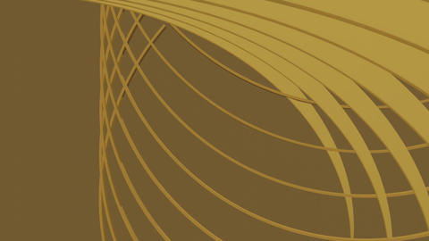 Luxurious golden background with parts of circle moving in space. Gold abstract Animation