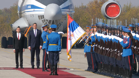 Republic of Serbia President Vucic with High Uniform Soldiers at Sloboda Freedom Live Action