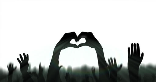Hands of dark silhouette shapes heart in a crowd celebrating. White background Animation
