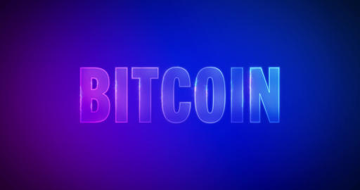 Bitcoin. Electric lightning words. Logotype Animation