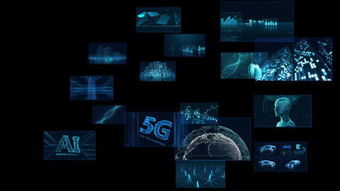 Digital Network Technology AI 5G data communication concepts background E Rotate A Sozai Animation