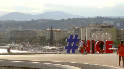 I love Nice letters at the Riviera of Nice - CITY OF NICE, FRANCE - JULY 10 Live Action