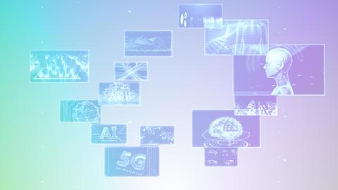 Digital Network Technology AI 5G data communication concepts background E Rotate B Gray2 CG動画