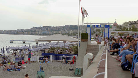 Famous Ruhl Beach in Nice - CITY OF NICE, FRANCE - JULY 10, 2020 Live Action