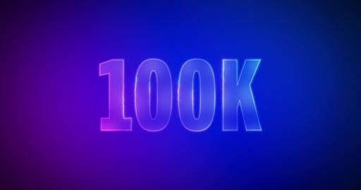 100K. Electric lightning words. Logotype. 100000 Subscribers Animation