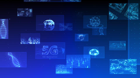 Digital Network Technology AI 5G data communication concepts background E Move A Blue Animation