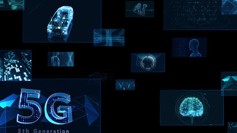 Digital Network Technology AI 5G data communication concepts background E Move A Sozai Animation