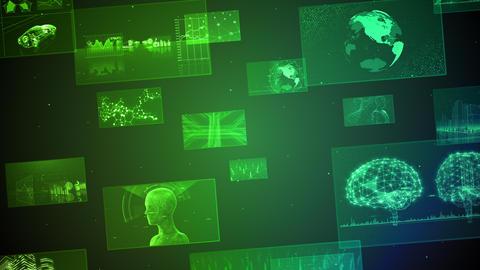 Digital Network Technology AI 5G data communication concepts background E Move B Green CG動画