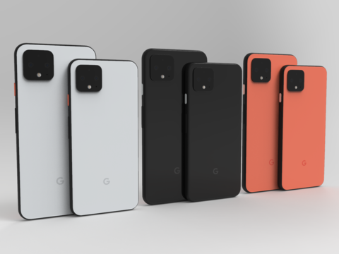 Pixel 4 and 4 XL In Official Colors 3D Model