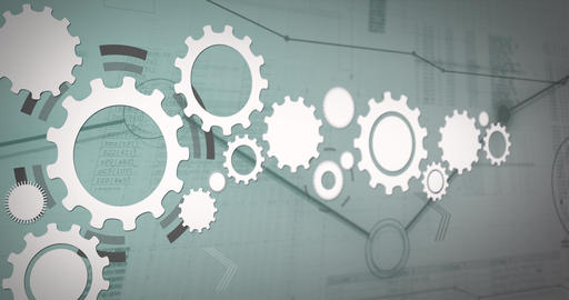 Gears rotate against a background of a digital network. Background animation for technical projects Animation