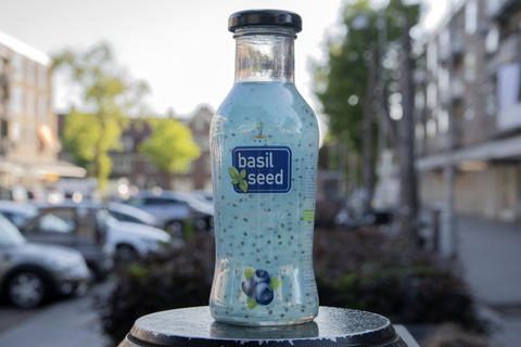 Close Up Basil Seed Drink At Amsterdam The Nehterlansds 29 May 2020 フォト
