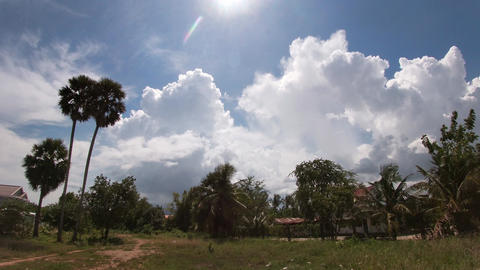Clouds Over Wasteland and Palm Trees Timelapse Acción en vivo
