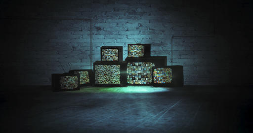 Group of old televisions in a dark room show various videos Videos animados