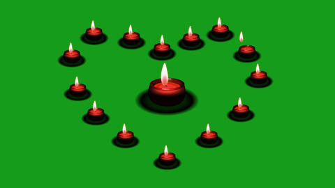 Candles in the shape of heart with green screen background Animation