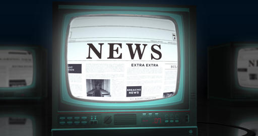 Three-dimensional monitor screen shows newspaper with news headline Animation