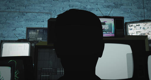 Person sits in front of old TV sets with different videos in a dark room. Pan CG動画