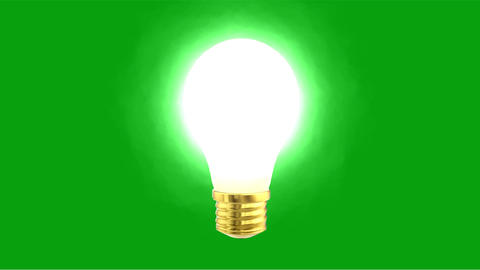 Glowing bulb motion graphics with green screen background Animation