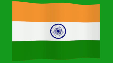 Wavy Indian flag motion graphics with green screen background CG動画