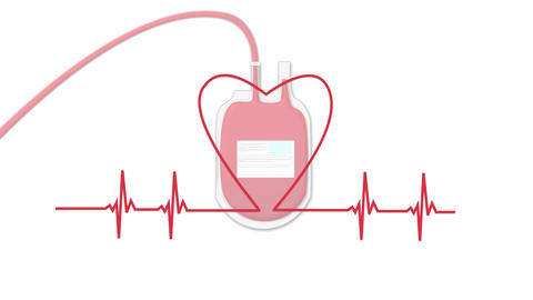 Heart rate forms heart with preserved blood bag of donation in background Videos animados