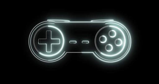 Glowing technical lines form game controller - gamepad hologram on black Animation