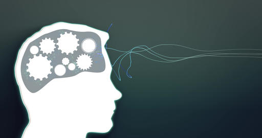 Gears spin in persons brain. Profile view. Thoughts turn. Seamless loop Animation
