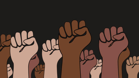 Fists of different skin colors are raised in the air against black background and symbolize cohesion CG動画