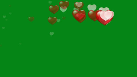 Colourful hearts motion graphics with green screen background Videos animados