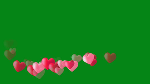 Pink hearts motion graphics with green screen background Animation