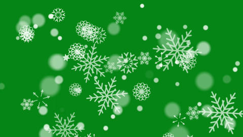 Snow flakes motion graphics with green screen background CG動画