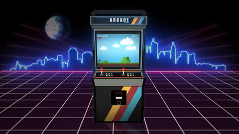 Retro arcade machine with a classic game and glowing city skyline in the background - Seamless loop Animation