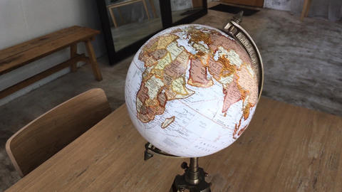 Retro globe item decorated in living room Live Action