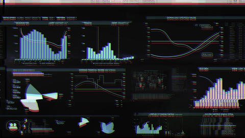 Digital glitch data collection with graphs, data sets, codes, financial data, numbers - Hacked Animation