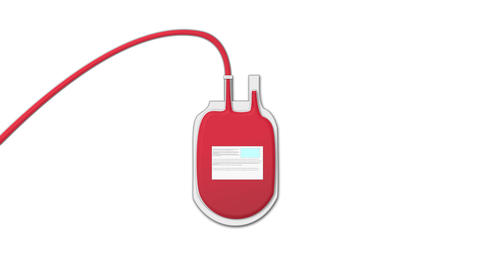 Blood bank bag is slowly filled by donating blood CG動画