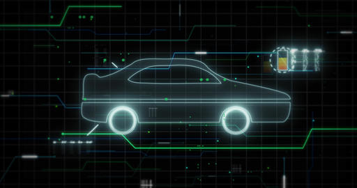 Symbol of electric car against technical computer background Animation