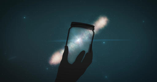 Black silhouette of hand holds sun glass against glowing starry sky. Background Animation