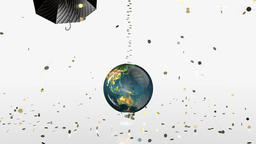 Earth Globe Crashing, golden coins falling on rotating umbrella Animation
