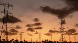 Electricity pillars, timelapse sunrise, camera panning Animation