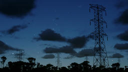 Electricity pillars at night, timelapse clouds Animation