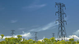 Electricity pillars, timelapse clouds Animation