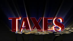 Euro coins falling and being hit by shiny word Taxes, Alpha Animation