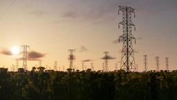 Electricity pillars, timelapse sunrise, night to day Animation