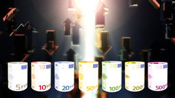 Euro currency spinning and arrows flying, financial concept, loop Animation