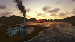 Factory polluting, timelapse sunset Animation