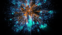 Fireworks bank, blue and orange, against black Animation
