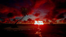 Fishing boat with tropical island and seagulls at sunrise Animation