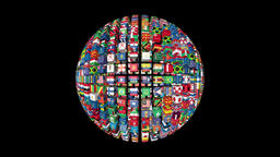 Flags of the World Sphere Rotating, black Animation