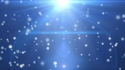 Flakes falling against light blue, holiday background Animation