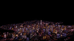 Flight above Night City Animation