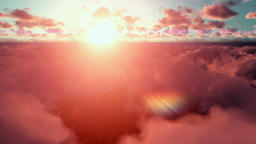 Flight above clouds at sunset Animation